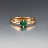 Outstanding Antique Gold Emerald Solitaire Ring C 1880s