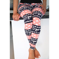 Fashionable High Waist Color Block Heart Printed Bodycon Leggings For Women