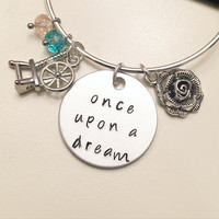 Once Upon a Dream Sleeping Beauty Aurora Disney Princess Inspired Stamped Adjustable Bangle Charm Bracelet