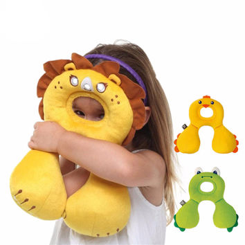Baby's U Pillows Animal Shaped Headrest 0-12 Month Babies Cartoon Neck Protector Travel Toys Children Kids Pillow Gifts