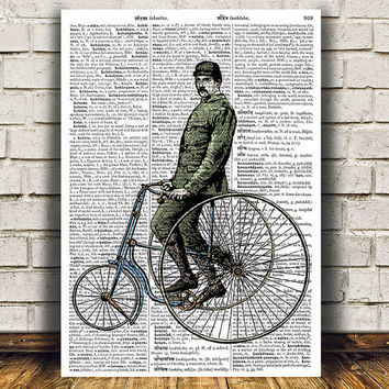 Bicycle print Dictionary art Steampunk poster Victorian print RTA1170
