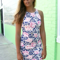 Summer In Vegas Pink Floral Print High Neck Bodycon Dress