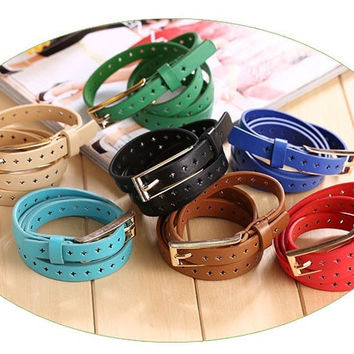 Women Girl Decorated Buckle Pierced Pin Button Thin Skinny Belt