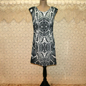Knit Dress Sleeveless Midi Edgy Clothing Gray Snakeskin Print Club Dress Rocker Punk Small Medium Womens Clothing