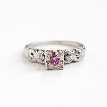 Vintage 14k White Gold Pink Sapphire & Diamond Ring - Sz 5 1/4 1940s 1950s Alternative Engagement Bridal Fine Jewelry Hallmarked Magnificent