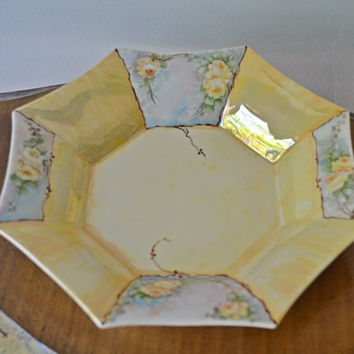 Limoges France, A.F Andre Francois Bowl, Hand Painted Bowl, Plate, Yellow Bowl, Lusterware, Octagonal Bowl, Roses,