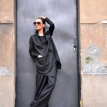 NEW COLLECTION Spring Black Jacket / Cotton Coat / Extravagant Asymmetrical Trench by AAKASHA