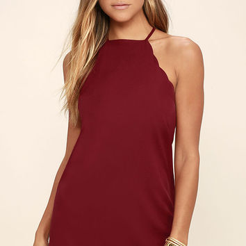 Endlessly Endearing Wine Red Bodycon Dress