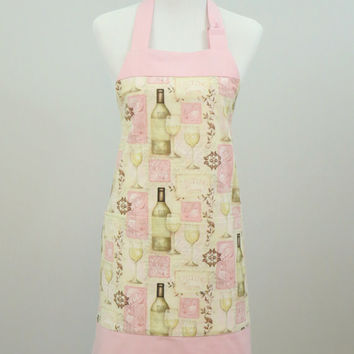Women's Chef Apron, Pink and Cream, Wine Themed Print, Fully Lined, Large Pockets, 100% Premium Cotton