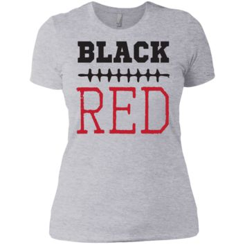 BLACK_AND_RED_-_FOOTBALL  Next Level Ladies' Boyfriend Tee