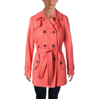 Calvin Klein Womens Wool Double-Breasted Pea Coat