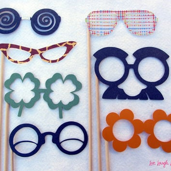 Photobooth Party Prop Glasses  Set of Seven by livelaughlovelots