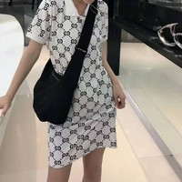 """Gucci"" Woman's Leisure  Fashion Letter Personality Printing lapel  Short Sleeve Tops Skirt"
