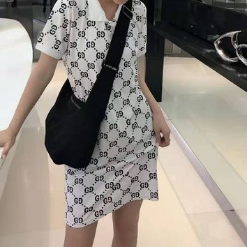 """""""Gucci"""" Woman's Leisure  Fashion Letter Personality Printing lapel  Short Sleeve Tops Skirt"""
