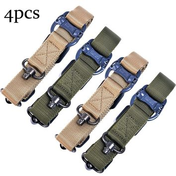 4 PCS Adjustable Tactical Hunting  Rifle  Sling  Bungee Rifle Gun Sling Strap with Metal Hook Safety Belt Rope 2 Colors