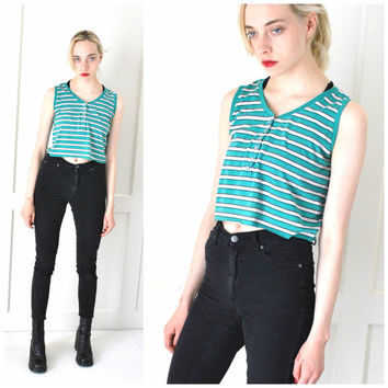 vintage 90s GRUNGE striped cropped HENLEY tank top os
