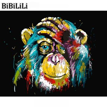Hot Frameless Baboon Animal DIY Painting By Number Wall Art Picture Paint By Number Canvas Painting For Home Decor Artwork