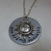 "Hand Stamped Aluminum ""you are my sunshine"" Necklace with Sun Charm / Hand Stamped Sun Pendant / ""you are my sunshine"" Pendant"