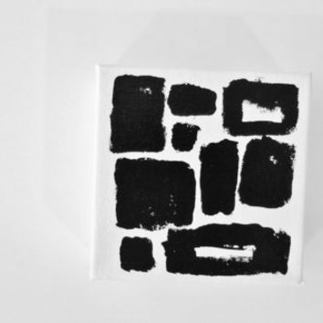 Original Modern Painting Black and White Abstract Art Square Minimal Geometric Painting - 5 x 5 inch Canvas - FREE SHiPPiNG (Canada & US)