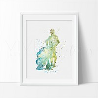 R2D2 & C3PO Watercolor Art Print