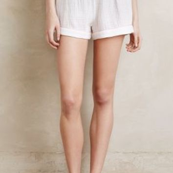 Skin Blushed Gauze Sleep Shorts in White Size: