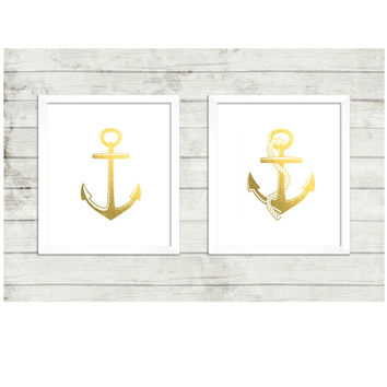 Nautical Printable,Gold Foil Nautical Anchor Duo set of 8x10, instant download, faux gold print, children room, office art