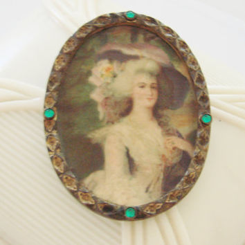Antique Brass Tin Victorian Lady Lithograph Portrait Brooch / Cameo Style / Reenactment / Green Rhinestones / Vintage Jewelry / Jewellery