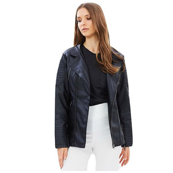 50% OFF!Buy In-Store. Boyfriend Vegan Leather Moto - 'Simone' (Black)