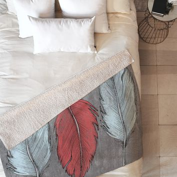 Wesley Bird Feathered Fleece Throw Blanket