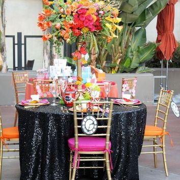 Black Sequin Linens