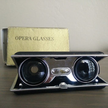 Antique Star-lite opera glasses, folding opera binoculars, vintage starlite glasses with box, coated lenses made in Japan