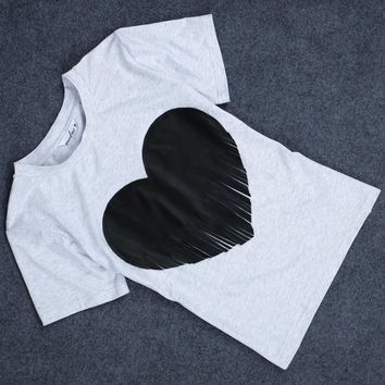 Basic Jewel Collar Heart-Shaped Fringed T-Shirt for Women