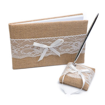 Wedding Guest Book and Pen Set - Burlap and Lace