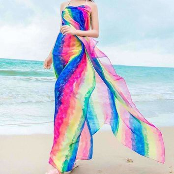 150*180cm Striped Chiffon Swimsuit Cover Up Scarf Long Scarf Lady Chiffon Scarfs Sunscreen Beach Towel Shawl Thin Wraps