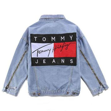 LMFON Tommy Hilfiger Fashion Distressed Denim Cardigan Jacket Coat