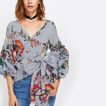 Gathered Sleeve Mixed Print Surplice Wrap Top Three Quarter Length Puff Sleeve V Neck Striped Floral Blouse