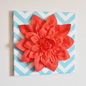"MOTHERS DAY SALE Wall Flower -Coral Dahlia on Aqua and White Chevron 12 x12"" Canvas Wall Art- 3D Felt Flower"