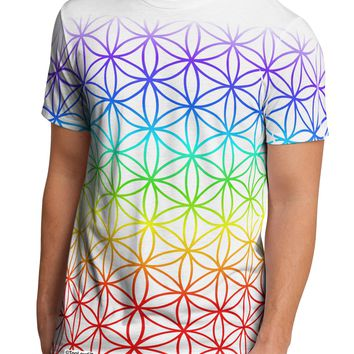 Chakra Flower of Life on White Men's Sub Tee Dual Sided All Over Print T-Shirt by TooLoud