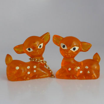 Orange Fawn Figurines, Pair Acrylic Deer, Two Fawn Figures, Orange White Spots