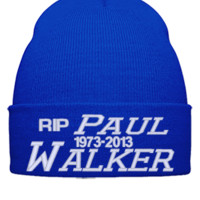 paul walker rip embroidery hat - Beanie Cuffed Knit Cap