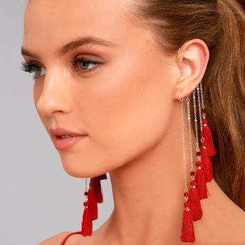 Soul of a Gypsy Gold and Red Tassel Ear Cuff
