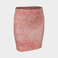 Peach echo and white swirls doodles Fitted Skirt Fitted Skirt