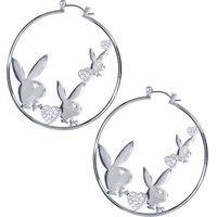 Officially Licensed Silver Plated PLAYBOY Clear RHINESTONE HEARTS Hoop Earrings