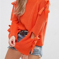 Orange Patchwork Lace-up Cut Out Bow Round Neck Long Sleeve Pullover Sweater