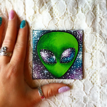 Tiny Hand Painted Alien Magnet