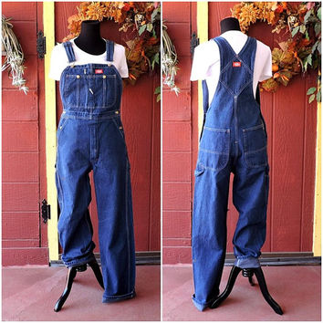 Vintage Dickies Overalls / mens womens 90s overalls /  denim bib overalls / Dickies jean overall pants size M 32 X 34