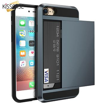 KISSCASE Armor Slide Case For iPhone 7 7 Plus Cover Hidden Card Holder Phone Cover For iPhone 6 6s Plus 5 5s Case Hybrid Cover