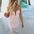 On The Rocks Plunging Neckline Fitted Pink Lace Cocktail Dress
