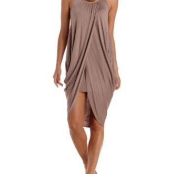 Taupe Draped High-Low Cocoon Dress by Charlotte Russe