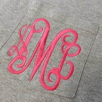 Monogram Long Sleeve Pocket Tee  Font Shown by MONOGRAMSINC